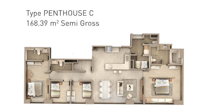 denah ruang penthouse saumata premier