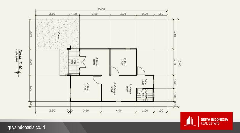 Denah Ruang Rumah Baru tipe 50 Jl Kalimas Hulu Kubu Raya2